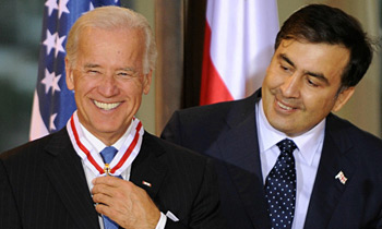What did Joseph Biden demanded from Mikheil Saakashvili in Rome?