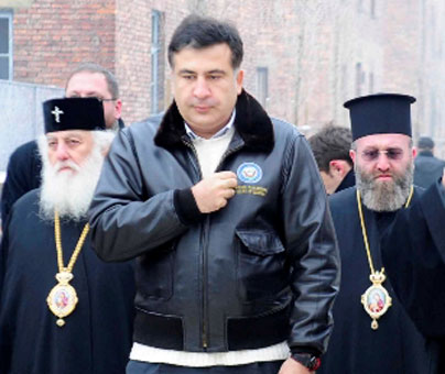 How shall make Saakashvili take off his American jacket?